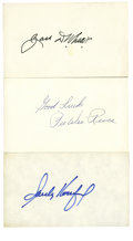Autographs:Index Cards, Dodgers Hall of Famers Signed Index Cards Lot of 3. Three legends who wore Dodger blue during their prestigious baseball car...