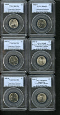 Jefferson Nickels, 2000-P 5C MS67 Full Steps PCGS,... (Total: 6 coins)