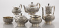 Silver Holloware, American:Tea Sets, AN AMERICAN SILVER FIVE-PIECE TEA SET. Tiffany & Co., New York,New York, circa 1873-1891. Marks: TIFFANY & CO.,1982M5951... (Total: 6 Items)