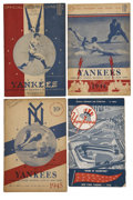 Baseball Collectibles:Others, 1943-58 New York Yankees Scorecards Lot of 4. Fifteen years ofYankees history capture the days of DiMaggio and Mantle for ...