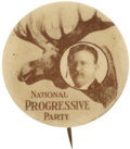 """Political:Pinback Buttons (1896-present), Theodore Roosevelt: Terrific 1¼"""" Button for the 1912 Bull Moose Candidate...."""