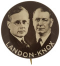 "Political:Pinback Buttons (1896-present), Landon & Knox: Rare 1¼"" Jugate with Black Background...."