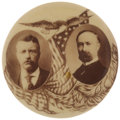 """Political:Pinback Buttons (1896-present), Roosevelt & Fairbanks: Rare and Lovely Sepia Toned 1¼"""" Jugate...."""