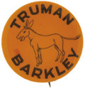 Political:Pinback Buttons (1896-present), Harry S. Truman: Very Rare Orange Variant of a Scarce 1948Design....