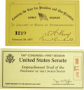 Political:Small Miscellaneous (1896-present), Pair of Congressional Tickets to Controversial Debacles.... (Total:2 Items)