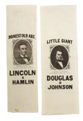 Political:Ribbons & Badges, Lincoln and Douglas: Spectacular Matched Pair of 1860 Campaign Ribbons in Superb Condition.... (Total: 2 Items)