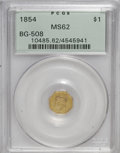 California Fractional Gold, 1854 $1 Liberty Octagonal 1 Dollar, BG-508, High R.4, MS62 PCGS....