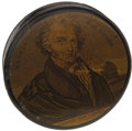 Political:Small Miscellaneous (pre-1896), Martin Van Buren: Sought-after Papier-Mâché Snuffbox....