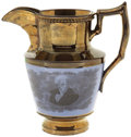 "Political:3D & Other Display (pre-1896), Andrew Jackson: Classic ""Hero Of New Orleans"" Copper Lustre Pitcher with a Much Rarer Blue Background...."