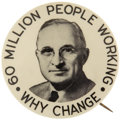 "Political:Pinback Buttons (1896-present), Harry S. Truman: ""THE"" Truman Picture Pin, the ""60 Million Working""...."