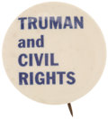 """Political:Pinback Buttons (1896-present), Harry S. Truman: Key 1¼"""" """"Civil Rights"""" Word Button...."""