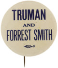 """Political:Pinback Buttons (1896-present), Harry S. Truman: Rare 2 1/8"""" Forrest Smith Coat-tail Button...."""