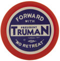 "Political:Pinback Buttons (1896-present), Harry S. Truman: Rare Colorful 2 1/8"" Slogan Pin...."