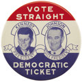 """Political:Pinback Buttons (1896-present), Kennedy & Johnson: Rare 3"""" Litho Jugate in Choice Condition...."""