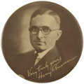 "Political:Pinback Buttons (1896-present), Harry S. Truman: Exceedingly Rare 4"" Companion Piece to the 7/8""District Judge Button...."
