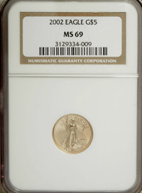 2002 G$5 Tenth-Ounce Gold Eagle MS69 NCS. NGC Census: (0/0). PCGS Population (2281/27). Numismedia Wsl. Price for NGC/PC...