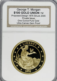 "Private ""1876 $100 Gold Union"" Ultra Cameo Gem Proof NGC. ...(PCGS# 62401)"