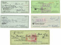 Autographs:Checks, Baseball Legends Signed Checks Lot of 5. Each of the five personalchecks seen here has been signed by one of the all-time ...