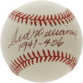 "Autographs:Baseballs, Ted Williams ""1941 .406"" Single Signed Baseball. The last man to reach the .400 mark has deposited an exceptional sweet spo..."