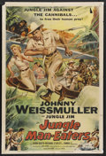 "Movie Posters:Adventure, Jungle Man-Eaters (Columbia, 1954). One Sheet (27"" X 41""). JungleJim Adventure. Starring Johnny Weissmuller, Karin Booth, R..."