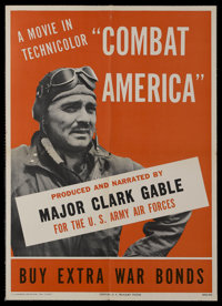 "Combat America (U.S. Government Printing Office, 1944). Poster (20"" X 28""). War Documentary. Narrated by Clark..."