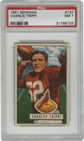 "Football Cards:Singles (1950-1959), 1951 Bowman Charley Trippi #137 PSA NM 7. Part of the Chicago Cardinals' famed ""Dream Backfield,"" Charley Trippi helped lea..."