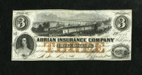 Adrian, MI - Adrian Insurance Company $3 Jan. 14, 1853 A great train vignette graces this lightly handled Obsolete with...