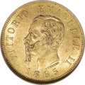 Italy: , Italy: Vittorio Emanuele II gold 10-Lire 1865-T BN, KM-9.2, AU58NGC. Two-year type from this mint, 1863 and this date. Thisappear...