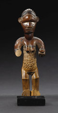 African: , Bembe (Democratic Republic of Congo). Female Figure holding a Gourd. Wood, porcelain. Height: 6 ¼ inches Width: 2 3/8 inche...