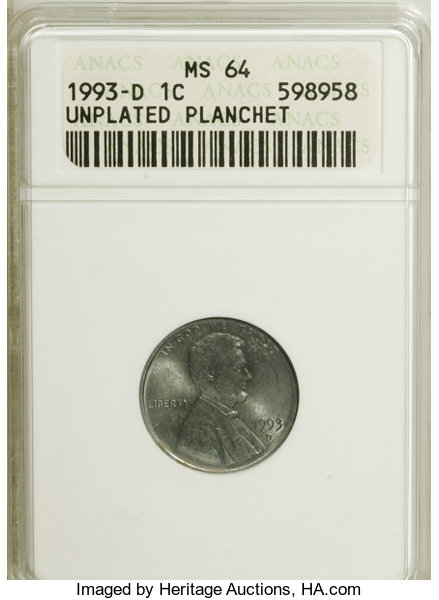 1993-D 1C Lincoln Cent--Unplated Planchet--MS64 ANACS