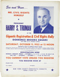 Political:Posters & Broadsides (1896-present), Harry S. Truman: Unusual and Important Cardboard Poster with Civil Rights Theme....