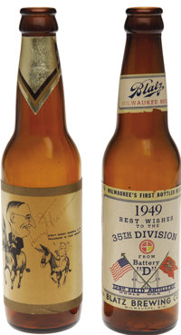 Harry S. Truman: Pair of Rare Souvenir Beer Bottles by Blatz of Milwaukee, One Autographed by Truman