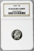 Proof Roosevelt Dimes: , 1964 10C PR69 Ultra Cameo NGC. NGC Census: (142/0). PCGS Population(258/2). Numismedia Wsl. Price for NGC/PCGS coin in PR...