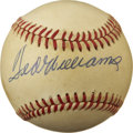 Autographs:Baseballs, Ted Williams Single Signed Baseball. The boldest of blue inksignatures from the Red Sox legend occupies the sweet spot of ...