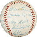 Autographs:Baseballs, Early 1960's All-Stars Signed Baseball with Mantle, Maris. We haven't been able to determine which exact All-Star Game gave...