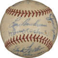 Autographs:Baseballs, 1948 Cleveland Indians Team Signed Baseball. Lou Boudreau's 1948Cleveland Indians check in here on the provided OAL (Harri...