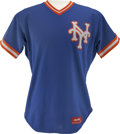 Baseball Collectibles:Uniforms, 1980s New York Mets Batting Practice Worn Jersey. Excellent use ofthe complimentary color scheme employed by the New York ...