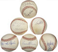 Autographs:Baseballs, Stars Signed Baseballs Lot of 6. Great collection of Hall of Fametalent is amassed here with to half dozen signed baseball...