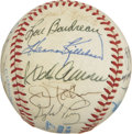 Autographs:Baseballs, Baseball Hall of Famers Multi-Signed Baseball. A total of 19 Hallof Fame signatures reside on the surface of the OAL (Brow...