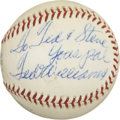 Autographs:Baseballs, Vintage Ted Williams Single Signed Baseball. Vintage OAL (Cronin)ball holds a signature and personalized inscription court...