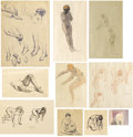 Fine Art - Work on Paper:Drawing, HENRI BAPTISTE LEBASQUE (French, 1865-1937). Group of TenFigural Studies. Mixed media on paper. 14-1/4 x 10-1/4 inches...