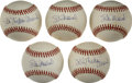 Autographs:Baseballs, Stan Musial Single Signed Baseballs Lot of 5. Quintet of singlesshares common theme of 9+/10 blue ink sweet spot signature...