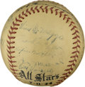Autographs:Baseballs, 1944 AL All-Stars Multi-Signed Baseball. The 1944 All-Star Game,played at Pittsburgh's Forbes Field, was marked most notab...