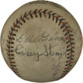 Autographs:Baseballs, 1939 Boston Braves Team Signed Baseball. Managed by legendary skipper Casey Stengel, the 1939 Boston Braves would struggle,...