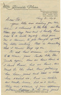 Autographs:Letters, 1943 Earle Combs Signed Handwritten Letter. Great handwrittenletter dated 1943 has been rendered in pencil by the Hall of ...