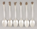 Silver Flatware, American:Dominick & Haff, A SET OF SIX SILVER AND MIXED METAL DEMI TASSE SPOONS. Dominick& Haff, New York, New York, 1879. Marks: D&H withinoval... (Total: 6 Items)