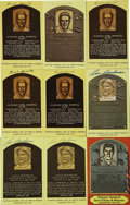 Autographs:Post Cards, Signed Cleveland Indians Gold Hall of Fame Plaques Lot of 9. Nine signed gold Hall of Fame plaques from former members of t...