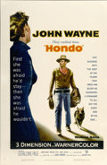 "Movie Posters:Western, Hondo (Warner Brothers, 1953). One Sheet (27"" X 41"") 3-D...."
