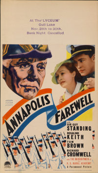 "Annapolis Farewell (Paramount, 1935). Midget Window Card (8"" X 14"")"