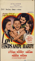 """Movie Posters:Comedy, Love Finds Andy Hardy (MGM, 1938). Midget Window Card (8"""" X14"""")...."""